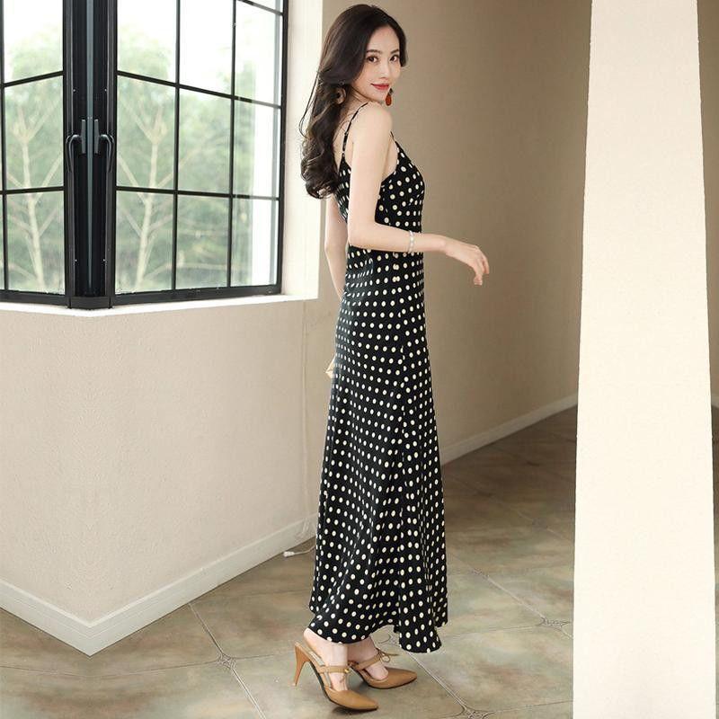 Женщины платье Summer Dot A-линии шифон бретелек Элегантный длинное платье черный пляж Вечер Ночь Плюс Размер vestidos 2020