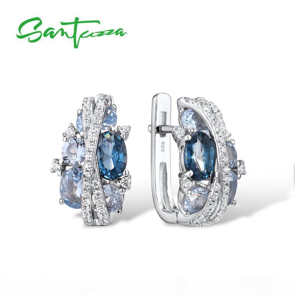 SANTUZZA argento orecchini per le donne autentico Argento 925 Shimmering blu Cubic Zirconia Jewelry CX200623 Glamorous Belle