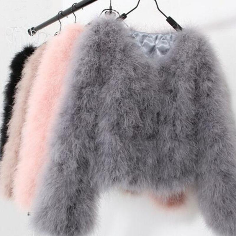 sexy lana struzzo tacchino donne reali della pelliccia cappotto nero corto piuma genuina plus size, Festival d'inverno lungo manica della giacca T200915