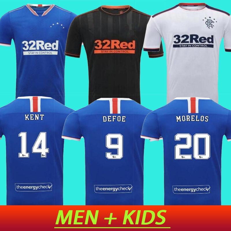 Мужчины + дети 2020 2021 Rangers Blanc Match Accueil Bleu Noir Invité Football Maillots 20-21 рубашка Глазго Loin Chemise Bleue de Футбол