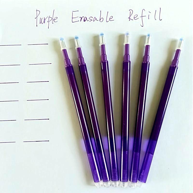 Púrpura de tinta borrable pluma Refill Gel Pen 0.7mm 6PCSlot magia borrable Refill Frixion Papel de la escuela de la oficina suministran regalos