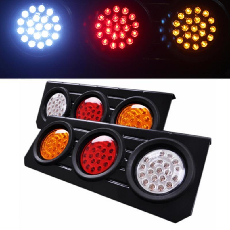 12V 24V Tepsi Geri Ute Tır Tekne Ters Gösterge LED Stop Kuyruk Işık Kırmızı Sarı Beyaz Kamyon Yan Uyarı 63 Led Işıklar