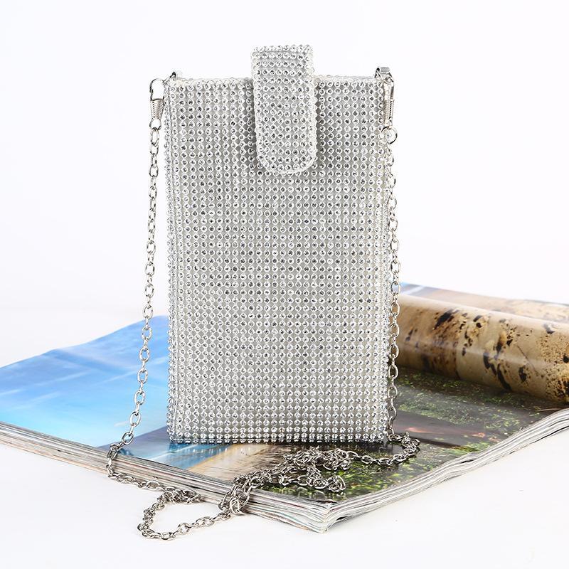 المرأة حقيبة أنثى حقيبة يد المحفظة البسيطة CROSSBODY حقيبة عشاء الموضة سلسلة الكتف مساء شبكة الهاتف حجر الراين
