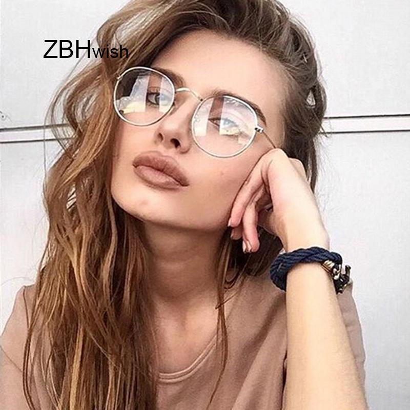 Marco vintage gafas de sol moda marco marco retro mujeres redondo claro lente hombres gafas gafas transparente axrpm