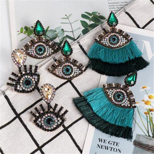 Kadınlar Etnik Trendy Püskül Bildirimi Küpe Dangle Moda Valentne Günü Takı-Z Bohemian Kristal Evil Blue Eyes Uzun Drop Küpeler
