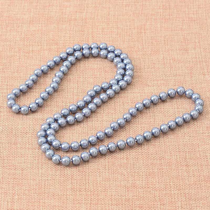 Lange Perlen Halskette der neuen Art-blaue Farbe für 8mm Perlen Shell künstliche Ketten-Halskette 36inch Entwurf H863 machen
