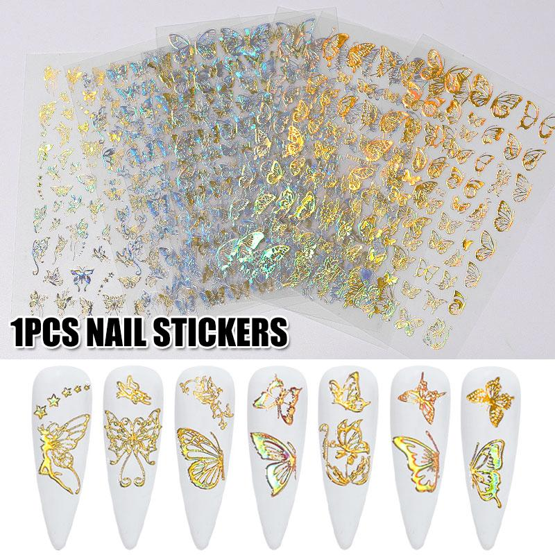 Multiple Types Nail Art Laser Gold And Silver Butterfly Sticker Spring Summer Butterfly Designs Manicure Nail Sticker