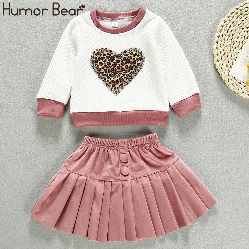 Юмор медведь малышей Baby Girl осень зима Набор с длинным рукавом Leopard Толстовка Tops + юбка 2pcs костюм Костюмы Детская одежда