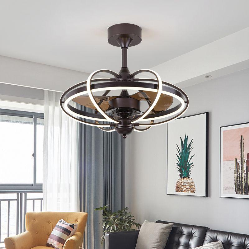 Ventilatori elettrici American American Frequency Frequency Fan Lamp Lampada Ristorante Soggiorno Silent Belt Sospensole Led Leaf Foglia Sospendi