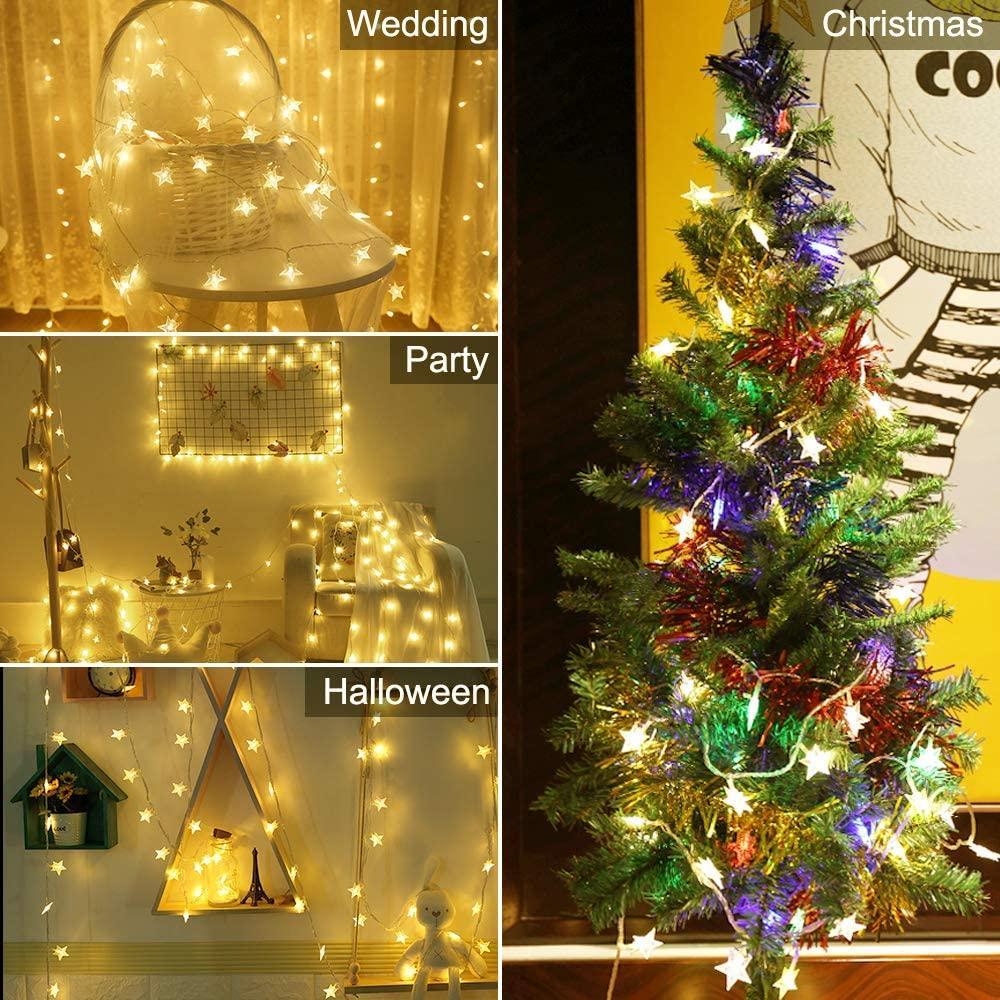 10/20 LED Star Light Cordas Twinkle Guirlandas alimentado por bateria de casamento decorativas de Luzes da festa natalícia Lâmpada do Natal