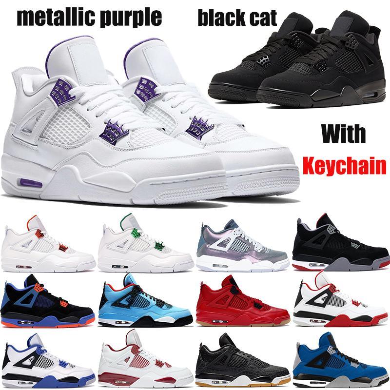 4 الجديدة 4S أحذية كرة السلة Jumpman أحمر معدني الأرجواني أسود القط الصبار ولدت جاك النار الفردي ما رجالي مدربات
