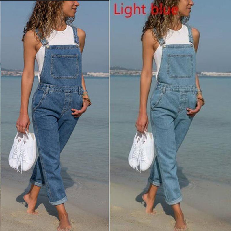 Europäische und amerikanische Amazon Beliebte Denim Bib Hosen der Frauen Größe Frauen Hosen Solid Color Denim