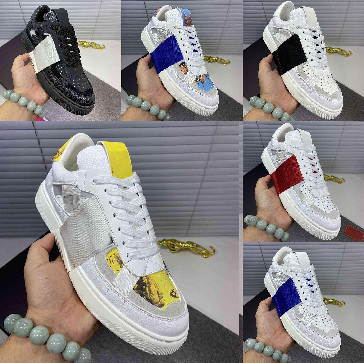 2020 Designer Luxe Sabots Mocassins Valentino Mans Chaussures Casual cool jeune homme plat Tissu Chaussures souple Chaussures de sport confortable Formateurs avec la boîte