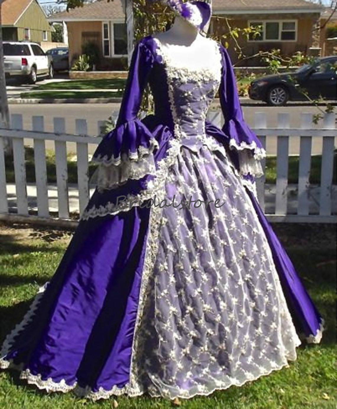 Trajes medievais roxo Prom Dresses com Puff mangas Lace Vestido Longo vestido de baile Masquerade Corset Praça Formal vestido de festa 2020