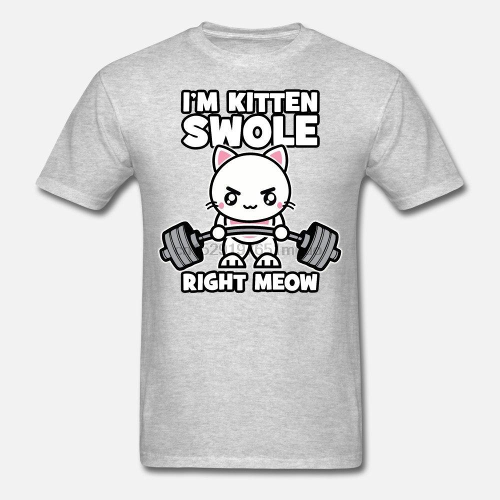 Erkekler t shirt ben Kedicik Swole Sağ Meow değilim - Spor salonu Kedi Kadın-tshirt tişörtleri