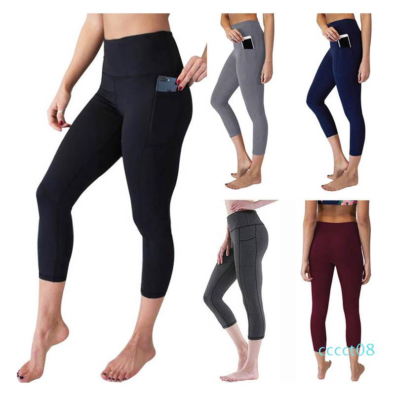 Women Yoga Pants Solid High Waist Pocket Sports Fitness Leggings Ladies Tummy Control Workout Pants Outdoor Running Cycling Tightsct08