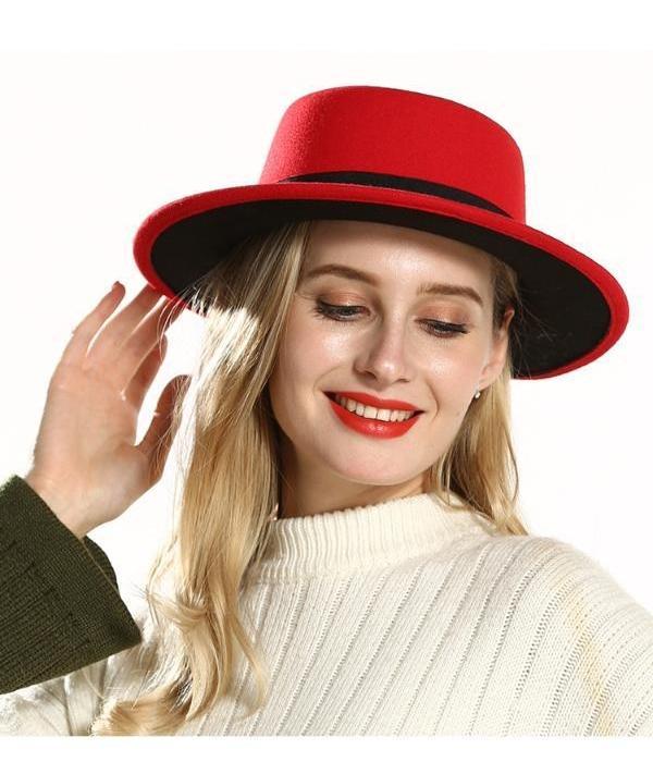 Extérieur Noir Rouge intérieur plat Brim Sombreros Flat Top Hat Felt Canotier Femmes Lady Imitez laine Fedora Chapeaux avec le noir