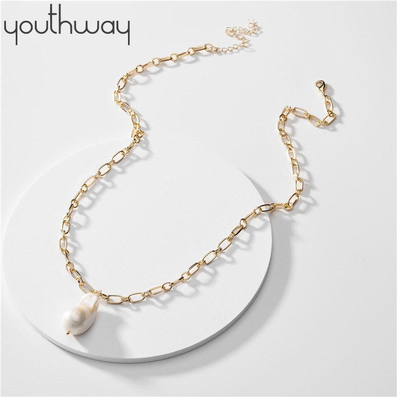 Anhänger Halsketten Barock Süßwasser Perle Halskette Einstellbare Pullover Langkette Natürliche europäische amerikanische berühmte Schmuck