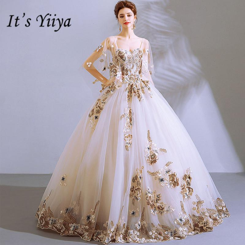 Il est blanc robe de mariée YiiYa col carré robe de bal parole longueur longue robe de soirée Custom Plus la taille des robes 2019 E289