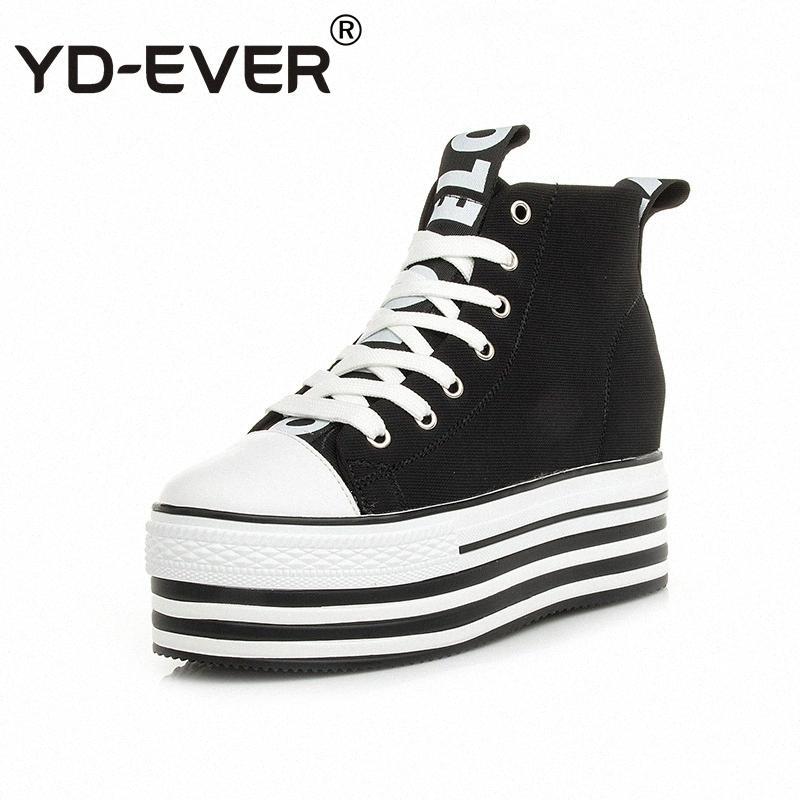YD-EVER 9см оригинальные кожаные ботинки женщин супер высокой пятки платформы клин холст обувь высота увеличения зашнуровать случайные кроссовки wtLf #