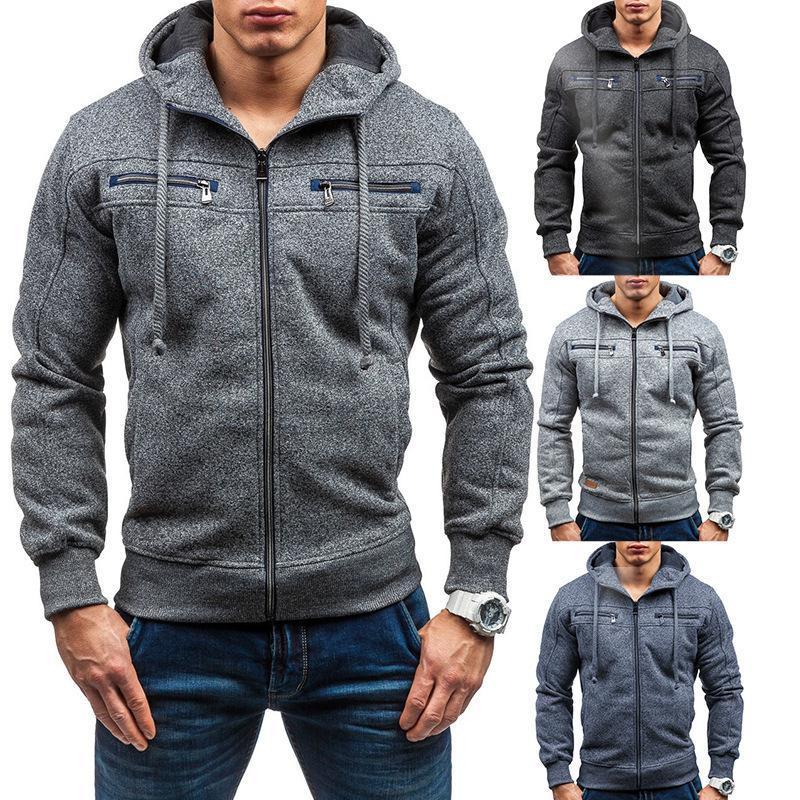 Mens neue Art und Weise dünne mit Kapuze Top Langarm Sport Zipper Solide Einfach Hoodies Streetwears 3 Farben