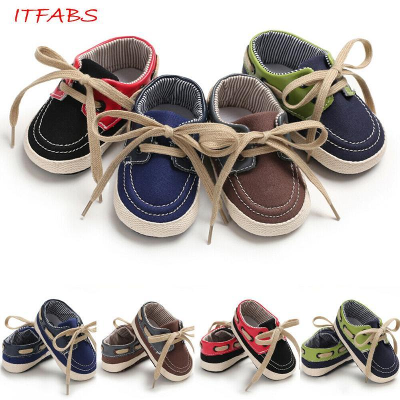 2020 Baby Summer First Walkers Newborn Toddler Baby Boy Girl Crib Shoes Lace Up Patchwork Sneakers PreWalker Trainers 0-18M
