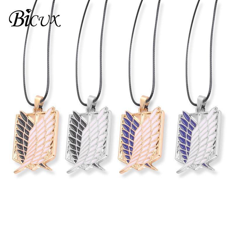 Bicux Mode Persönlichkeit Feder Anime Legierung Anhänger Halsketten Für Frauen Männer Party Einfache Schlüsselbein Seil Kette Halskette Schmuck