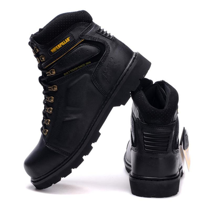 2020 New Spring and Autumn First Layer Boots Mens round Head Lace up Motorcycle Shoes Waterproof Worker Boot Outdoor Boot