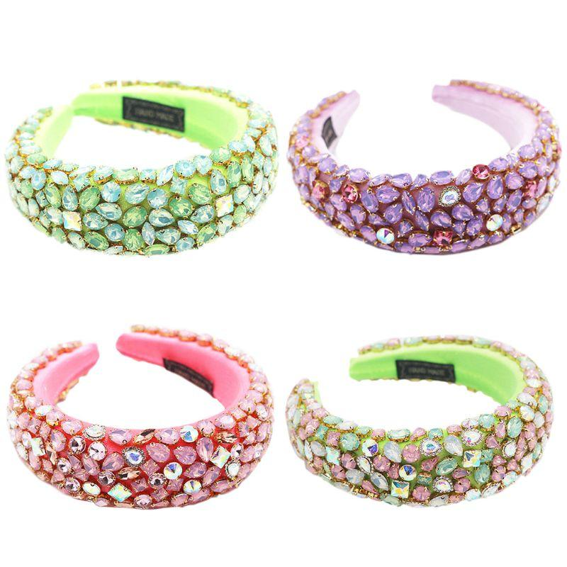 Baroque Jewelry Sponge Headband Geometric Rhinestone Neon Candy Color Hair Hoop A2UA