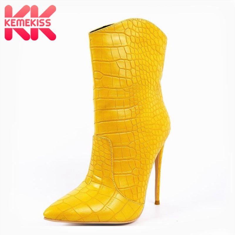 KemeKiss New Fashion Ankle Boots Spitzschuh Thin-Absatz-Schuhe Sexy Slip On Schuhe Weibliche Schuhe Westernstiefel Größe 34-43