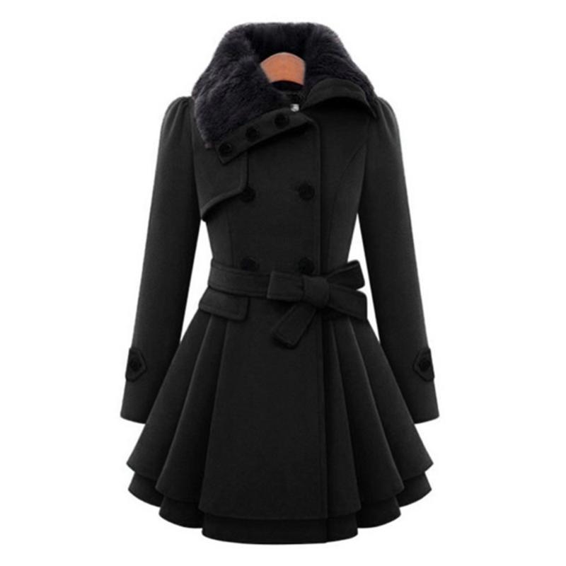 Abrigo de invierno Escudo foso de las mujeres da vuelta-abajo de manga larga Chaquetón de piel falsa doble de pecho grueso Plus tamaño de la manera Outwear