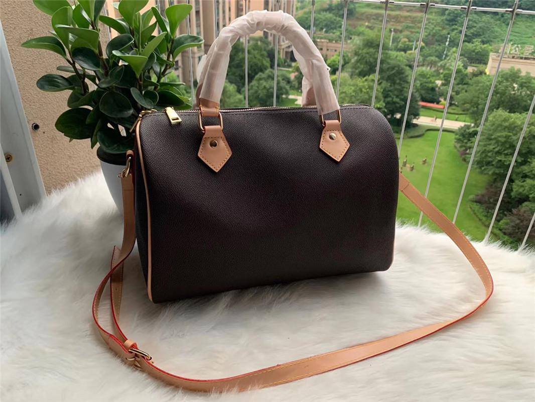 30CM Frauen Schultertasche Leder Totes Handtasche Luxus-Umhängetasche Handtasche mit Schulterriemen, Schloss, Schlüssel