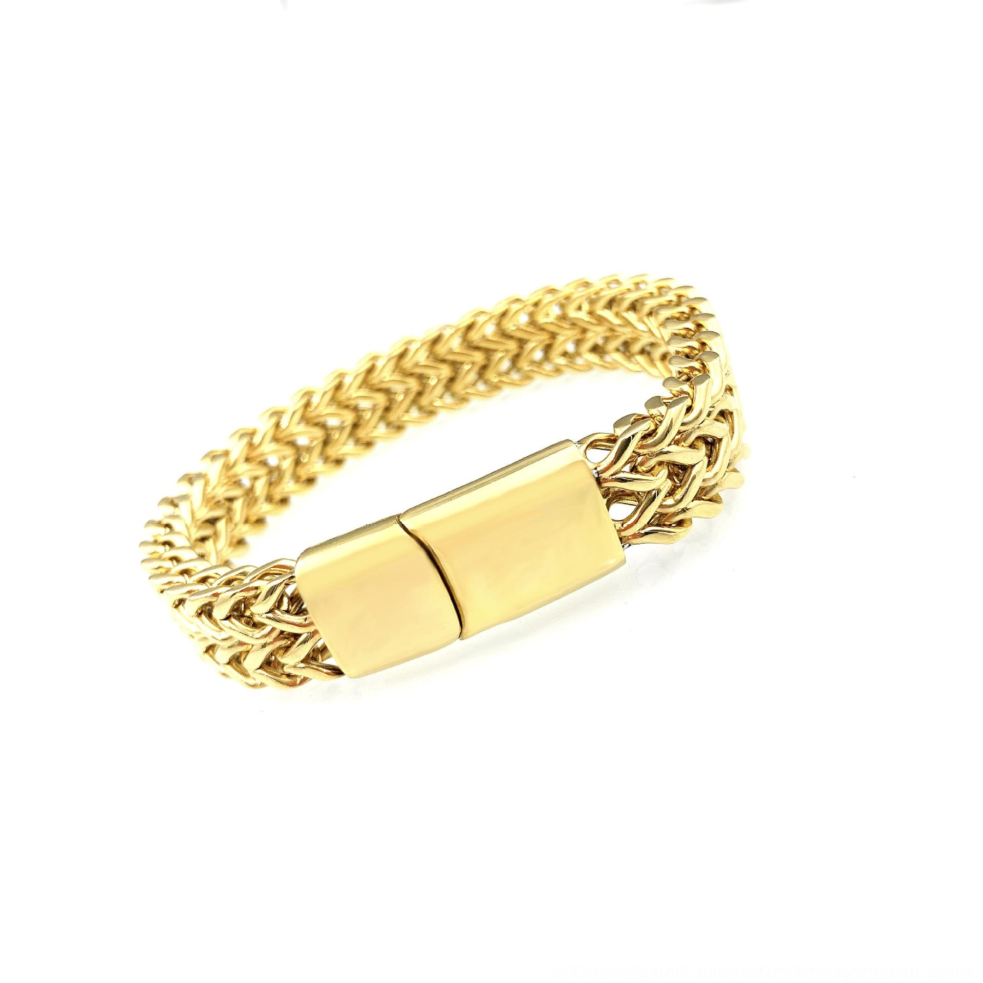 frontais de aço inoxidável duas carreiras e titânio cadeia de volta personalizado pulseira de ouro acessórios de hardware pulseira de ouro dos homens imuux