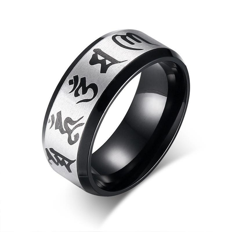 2020 de alta qualidade anéis de casamento para Homens Jóias Anel de aço inoxidável tradicional Om Mani Padme Hum Men Anel Negro Cor