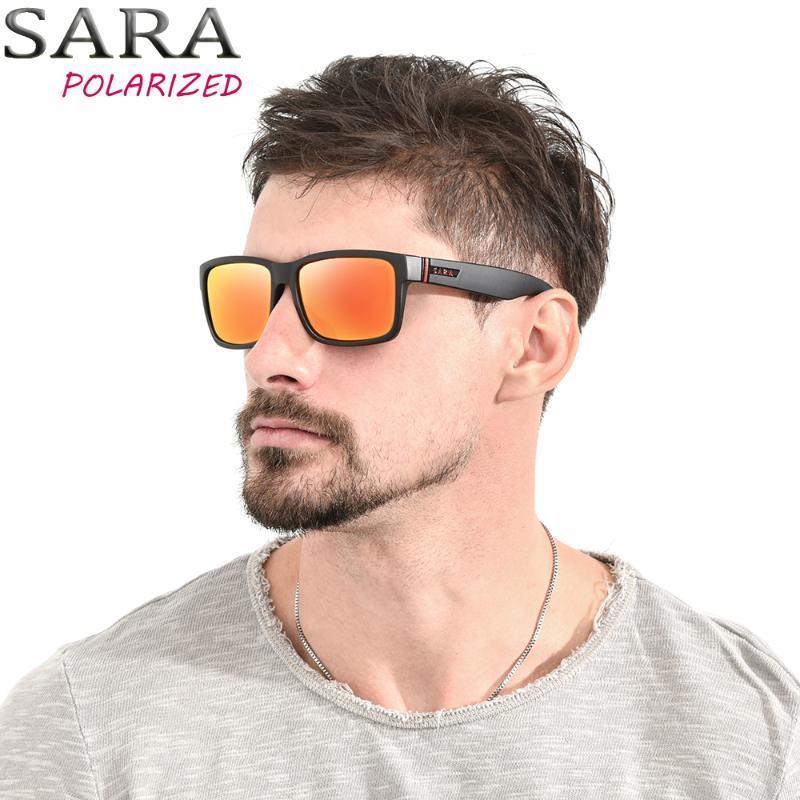 SARA Serbest zaman etkinlikleri Güneş Polarize Güneş Gözlükleri Erkekler All-Fit Kare Kaplama Ayna Lensler Kadınlar Gözlük UV400 V9026