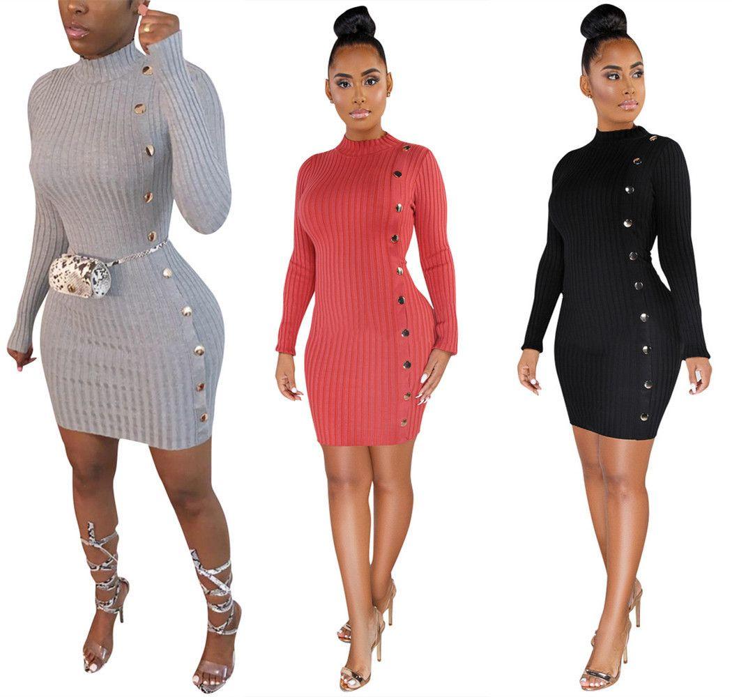 женщины чистого цвета Sexy Тонкие личности однобортные асимметричные макси платье женщин вскользь длинные рукава женщина платья модели