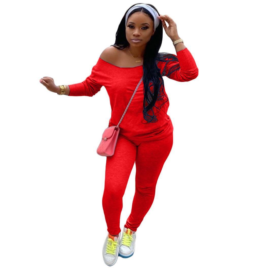 Женщины Off Pieces Цветные наряды сплошной моды Два плеча Длинные уличные рукава Упаковные штаны Топ набор одежды Женская новая одежда FHHEX