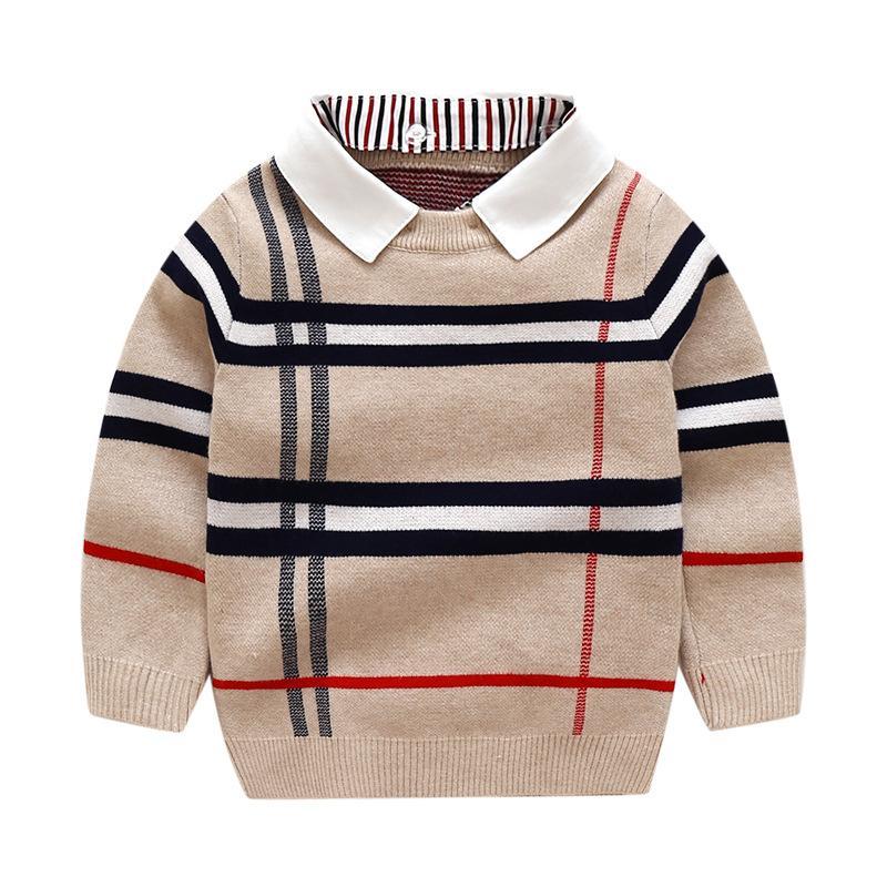Bambini Abbigliamento alta moda Ragazzi Plaid maglieria jacquard maglione Bambini rimovibile risvolto manica lunga in maglia Pullover bambini Lattice Jumper S575
