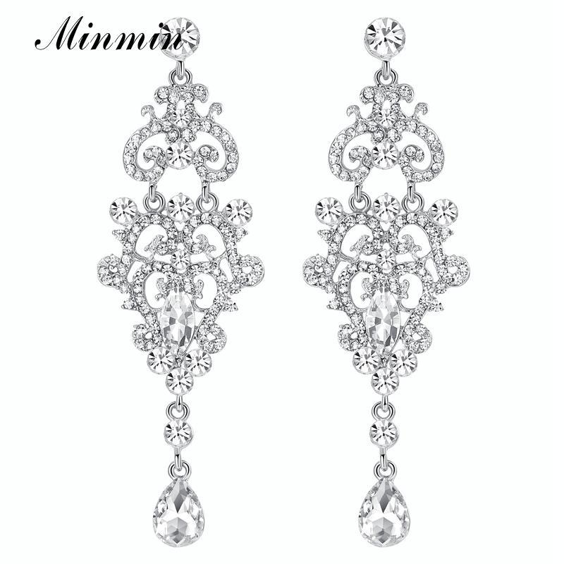 Minmin Vintage Teardrop Silver Color Crystal Female Long Drop Earring Chandelier Bridal Pendant Dangle Earrings for Women EH189