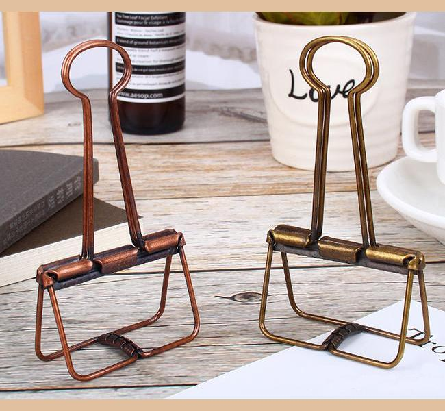 Bronze Skeleton Binder Clips Hollow Out Long Paper Photo Clip Planner Notebook Clipers for Home Office School Stationery
