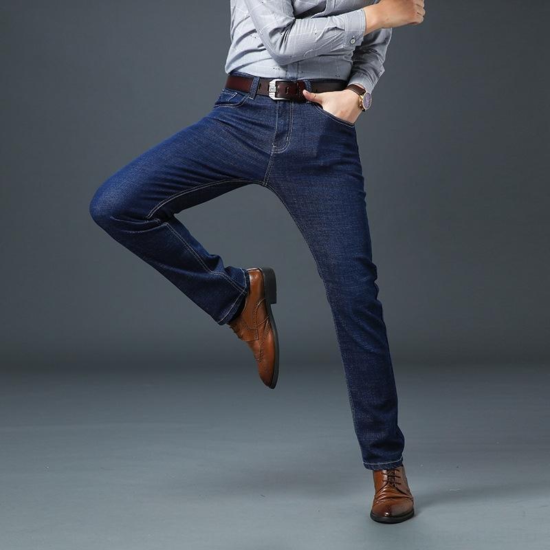 LpBgu Outono e inverno jeans stretch grossa dos homens de meia idade e soltos grande moda idosos jeans reta tamanho A5B54 high-end dos homens