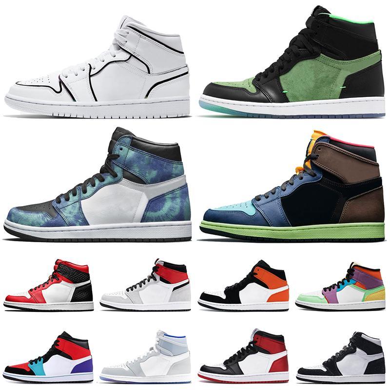 retro Jumpman 1 1s Zapatos baloncesto de los hombres del tinte del lazo ROTO BACKBOARD Gris humo real del dedo del pie mujer de hombres