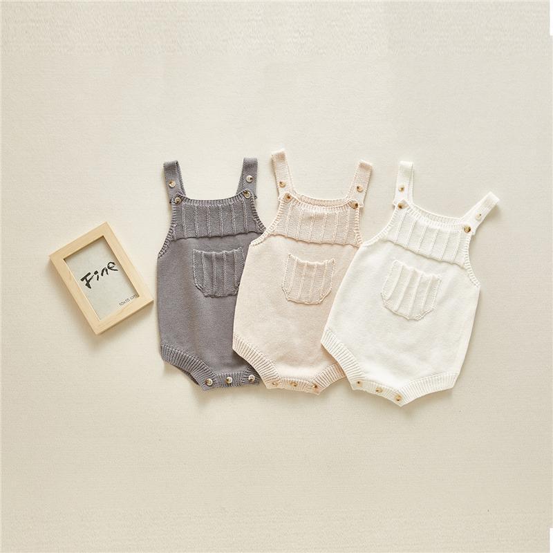 Novità del bambino delle ragazze dei neonati pagliaccetti tasca frontale design Autunno lavoro a maglia tuta delle ragazze dei capretti maglione della tuta bambini Oneise 0-2T
