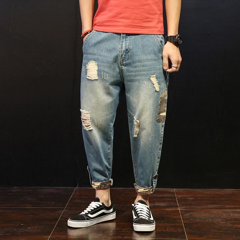 los pantalones vaqueros de moda MM2EO grandes y pequeñas pies pantalones de grasa tamaño de los tobillos de los hombres de los pantalones vaqueros y jeanstrousers br arrancaron 0CbdD nuevos hombres sueltos