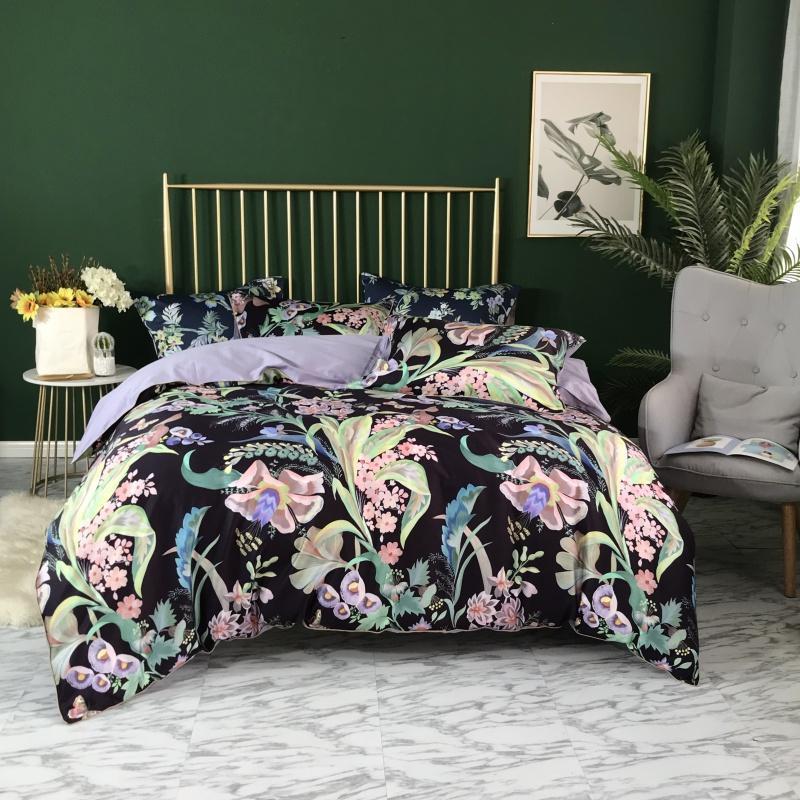 43 Tropical folhas florais Blossom Duvet capa do edredon azul marinha Ultra Suave de seda de algodão egípcio roupa de cama definir TWIN QUEEN KING SIZE