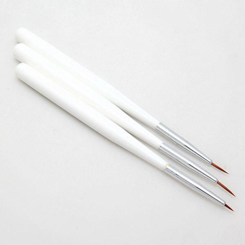 3 pièces / paire Nail Art Liner Acrylique Français Professionnel Brosses Dessin Dotting Brosse à ongles manucure Pen Outils de cheveux