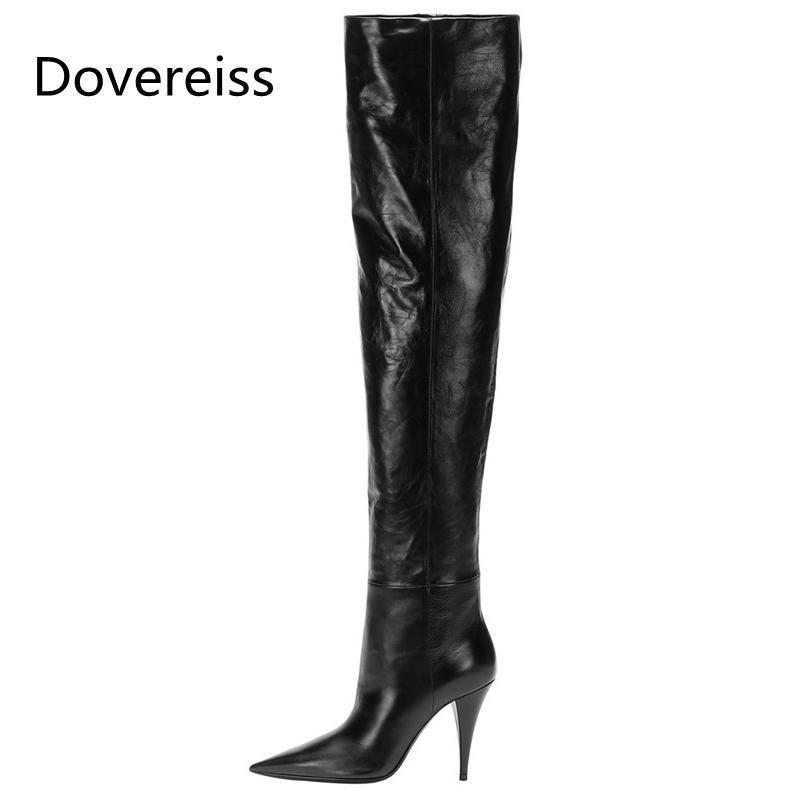 Diz çizme Özlü Olgun 33-48 Üzeri Zarif yeni Dovereiss Moda Kadın Ayakkabı Kış Sivri Burun seksi Stilettos Topuklar