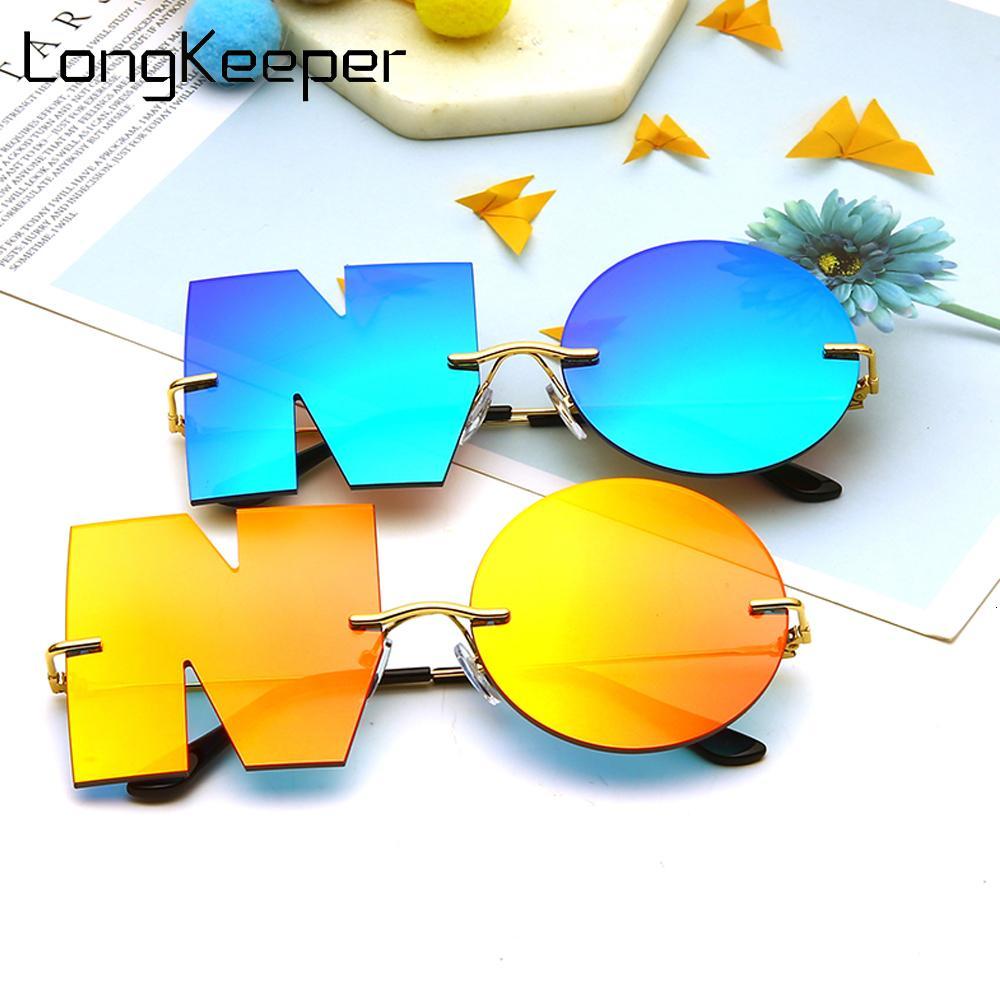 Nouvelle mode lunettes de soleil personnalité Hommes Gafas Verres rondes Sun Rimless Femme Punk Sol Eyewear Miroir Oculos Lettre de Femmes MTGWB