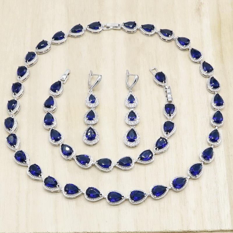 Серьги Ожерелье Royal Blue Полугодичный Серебряный Цвет Ювелирные Изделия Наборы Для Женщин Падение Воды Браслет Подарок Свадьба