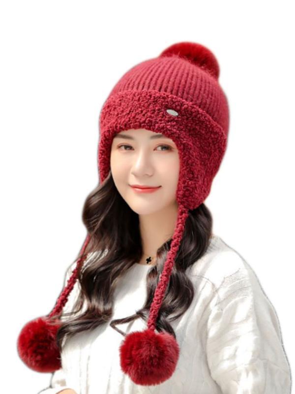 Femme Automne Hiver Mink tricot Bomber Hat épais Femme Fluffy Pompon extérieur Réchauffez coupe-vent Earflap Trapper neige Caps ski